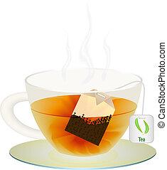tasse, thé, illustration, vecteur, ton, design.