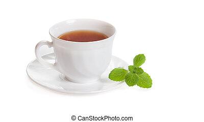 tasse, thé, isolé, melissa, aromate, blanc, menthe