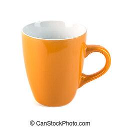 tasses, blanc, céramique, fond, jaune