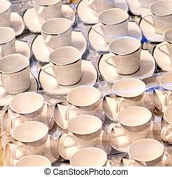 tasses café, emballé, celophane