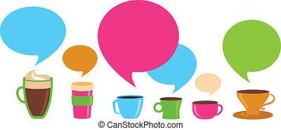 tasses café, parole, bulles