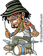tatouage, batteur