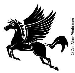 tatouage, cheval, aile