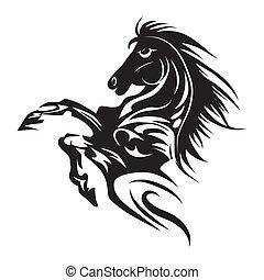 tatouage, cheval, emblème, symbole, isolé, ou, conception, logo, blanc, template.