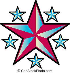 tatouage, conception, art, étoiles, agrafe