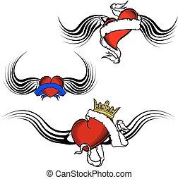 tatouage, ensemble, coeur, ailé, tribal, rouges