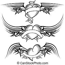 tatouage, ensemble, coeur, ailé, tribal, ruban