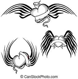 tatouage, ensemble, coeur, ailé, tribal, tshirt