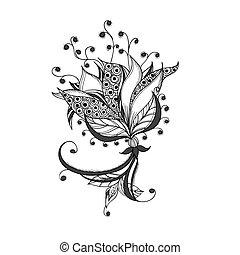 tatouage, fleur, modèle, fantasme, noir, blanc