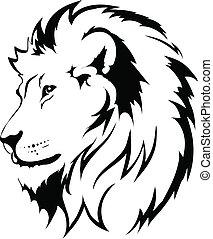 tatouage, lion, tête