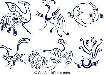 tatouage, oiseau tribal, illustration
