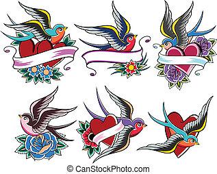 tatouage, oiseau