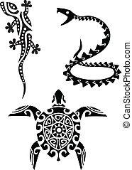 tatouage, reptile, tribal