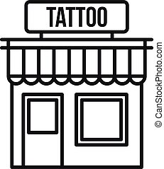 tatouage, style, studio, icône, bâtiment, contour