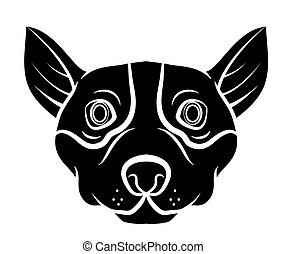 tatouage, tête, chien