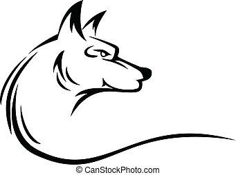 tatouage, tête, loup