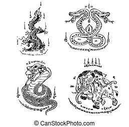 tatouage, thaï, vecteur, ancien