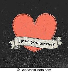 tatouage, toujours, amour, texte, sur, illustration, vecteur, ruban, vendange, heart., vous, rouges