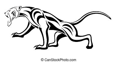 tatouage, tribal, léopard