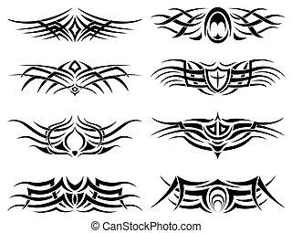 tatouage, tribal, meute