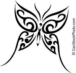 tatouage, tribal, vecteur, buterfly
