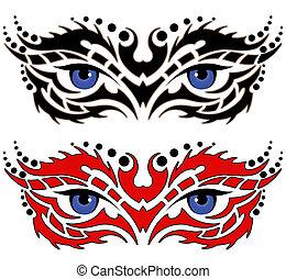 tatouage, tribal, yeux