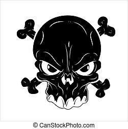 tatouage, vecteur, crâne