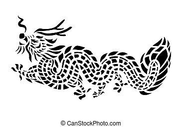 tatouage, vecteur, illustration, dragon