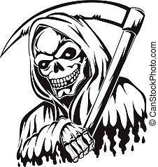 tatouage, vendange, reaper, scythe avoirs, sinistre, engraving.