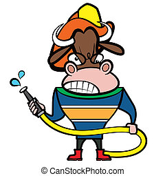 taureau, dessin animé, pompier