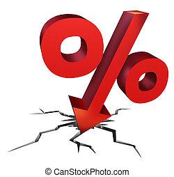 taux, tomber, intérêt