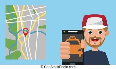 taxi, app, jeune, animation, utilisation, hd, homme