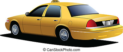 taxi, cab., jaune, vecteur, illustration, new york