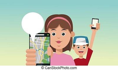 taxi, famille, app, animation, ligne, utilisation, hd