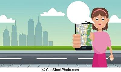 taxi, femme, app, animation, utilisation, hd