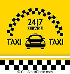 taxi, fond, voiture, symbole