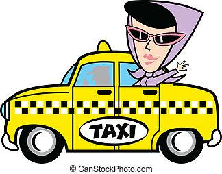 taxi, girl, art, agrafe