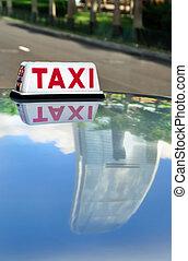 taxi, hong, &, reflet, kong, gratte-ciel