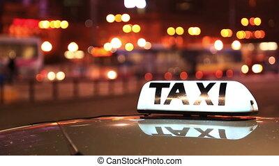 taxi, inscription, ville, voitures, nuit, contre, rue, grand, dépassement, briller