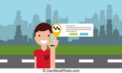 taxi, mobile, app, animation, caractère