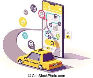 taxi, mobile, app, vecteur, illustration