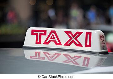 taxi, signe, toit, taxi