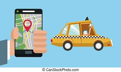 taxi, smartphone, app, animation, utilisation, hd