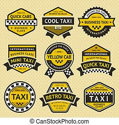 taxi, style, ensemble, vendange, taxi, insigne
