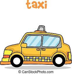 taxi, transport, vecteur, art, dessin animé