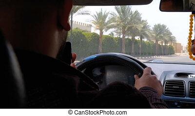 taxi, ville, autour de, chauffeur, egypte, dos, recours, promenades, jour, vue