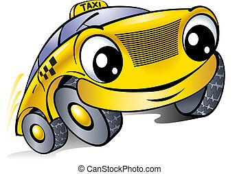 taxi., voiture, face., rire