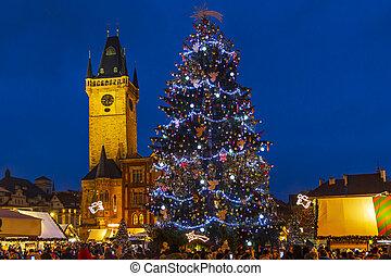 tchèque, arbre, prague, ville, république, carrée, vieux, noël