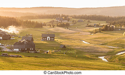 tchèque, jizerka, village, time., bukovec, coucher soleil, montagne, jizera, république, montagnes, vue