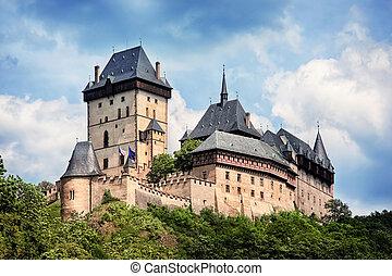 tchèque, karlstejn, panoramique, république, château, vue
